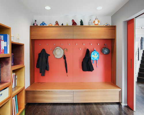 Charming Mid Sized Contemporary Mudroom Idea In Seattle With Red Walls, Dark  Hardwood Floors And