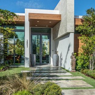 Trendy single front door photo in Miami with a glass front door