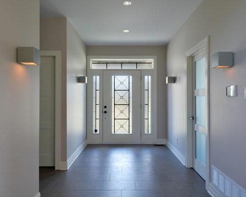 Single front door - transitional single front door idea in Toronto with a glass front door & Translucent Acrylic Door Inserts | Houzz