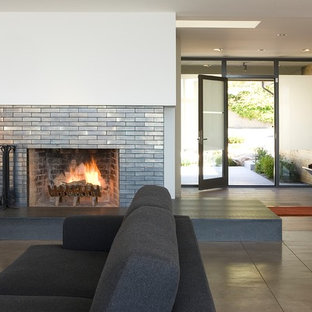 Entryway - large contemporary concrete floor entryway idea in San Francisco with white walls and a glass front door