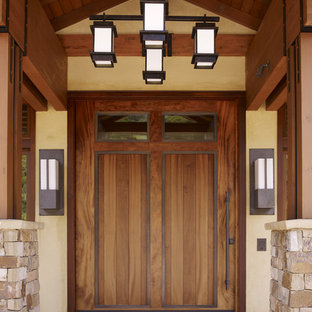 Large Arts And Crafts Front Door Photo In San Francisco With A Medium Wood Front  Door