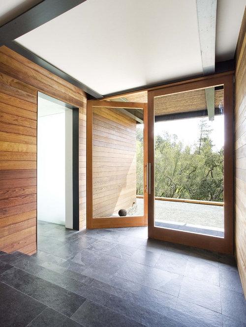 Modern Slate Floor And Black Floor Entryway Idea In San Francisco