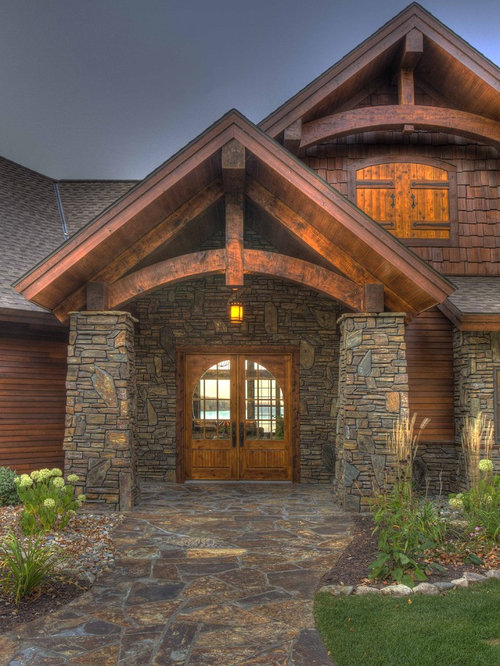 Timber Frame Entry Home Design Ideas, Pictures, Remodel