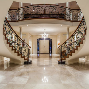 Design ideas for a traditional foyer in Perth with beige walls, marble floors, a double front door, a white front door and beige floor.