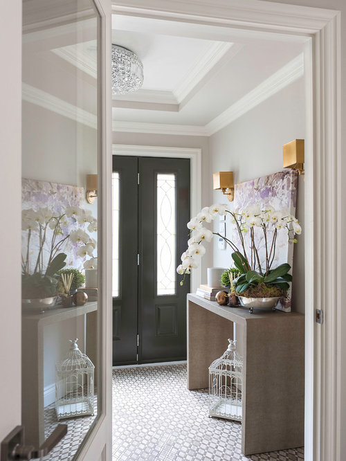Small transitional marble floor entryway idea in Montreal with gray walls and a black front door & Vestibule with a Black Front Door Ideas \u0026 Design Photos | Houzz Pezcame.Com