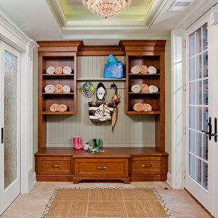 Example of a large classic mudroom design in Philadelphia with green walls