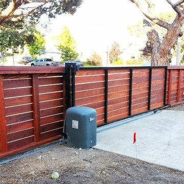Mar Vista - Clear Redwood Fence w/ Automatic Driveway Gate