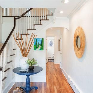 Diseño de distribuidor costero, grande, con paredes blancas, suelo vinílico, puerta simple, puerta de madera en tonos medios y suelo marrón
