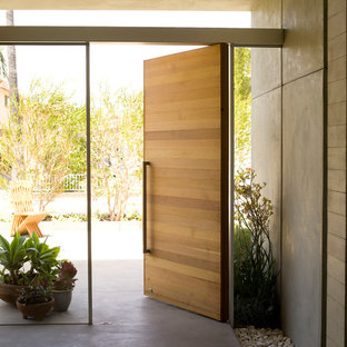 Inspiration for a mid-sized modern concrete floor and gray floor entryway remodel in Los Angeles with white walls and a medium wood front door