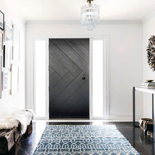 Inspiration For A Traditional Foyer In San Francisco With White Walls Dark Hardwood Flooring