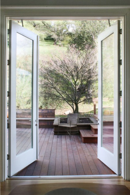 Transitional entry by schwartz and architecture for In swing french patio doors