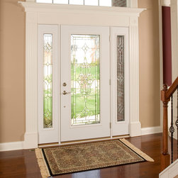 ProVia - Maximizing Curb Appeal w/ New Entry Doors - Front door with glass.  ProVia Heritage Fiberglass 460STJ entry door with 160STJ sidelites. Shown in Oak Wood Grain with Snow Mist Paint Color.