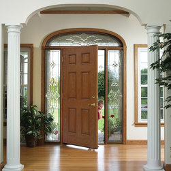 ProVia - Maximizing Curb Appeal w/ New Entry Doors - Heritage 006 fiberglass entry door by ProVia with 770STJ Sidelites and 512/513STJ Transom.  Shown in Oak stain.