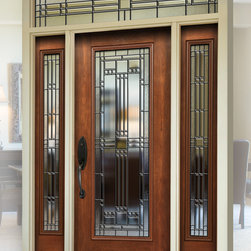 Maximizing Curb Appeal w/ New Entry Doors - Stunning glass front door. Signet 460LEH fiberglass entry door with 160LEH Sidelites and 612/613LEH Transom.  Shown in Cherry Woodgrain with Toffee stain.
