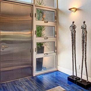 Пример оригинального дизайна: входная дверь в современном стиле с одностворчатой входной дверью и синим полом