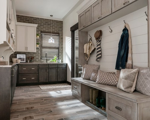 Mudroom   Transitional Brown Floor Mudroom Idea In Other With White Walls