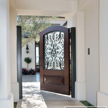 Mediterranean Garden Gates in Wood & Wrought Iron Design with Rain Glass Pane
