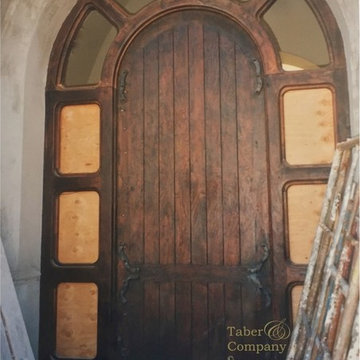 Mediterranean Style Arch Entry Door With Side Lights
