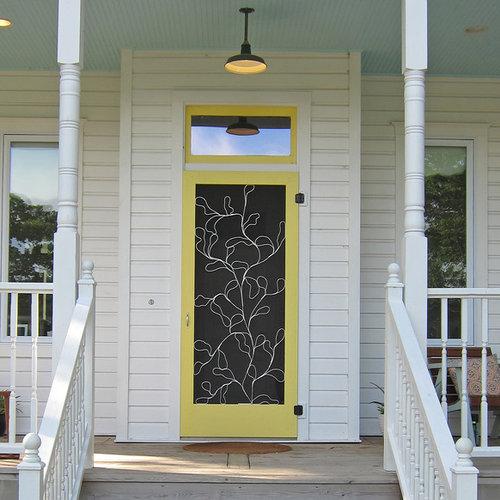 decorative storm door. Example of a classic entryway design in Austin with yellow front door Decorative Screen Doors  Houzz