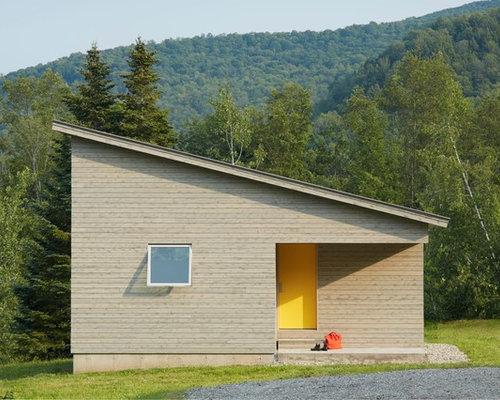 eingang mit gelber t r und grauen w nden hauseingang eingangsbereich gestalten houzz. Black Bedroom Furniture Sets. Home Design Ideas