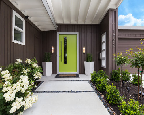 Design Ideas For A Retro Front Door In San Francisco With Brown Walls, A  Single