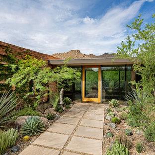 Entryway - midcentury modern entryway idea in Phoenix with a glass front door