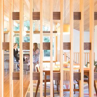 Inredning av en 50 tals mellanstor ingång och ytterdörr, med mellanmörkt trägolv, en enkeldörr, en blå dörr och brunt golv