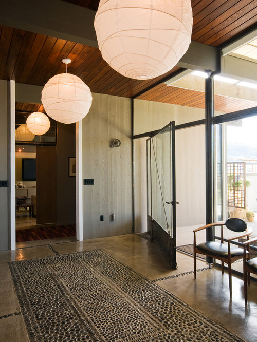 Glass and metal front door houzz entryway midcentury modern concrete floor entryway idea in other with a glass front door planetlyrics Choice Image