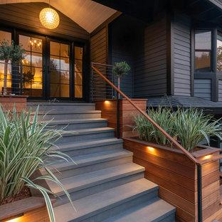 サンフランシスコの中くらいの両開きドアトランジショナルスタイルのおしゃれな玄関 (グレーの壁、御影石の床、グレーの床) の写真