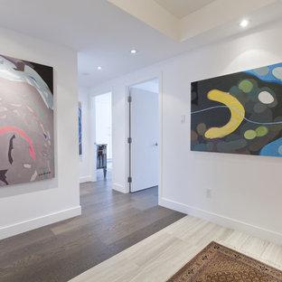 Immagine di un ingresso o corridoio minimalista con pareti bianche