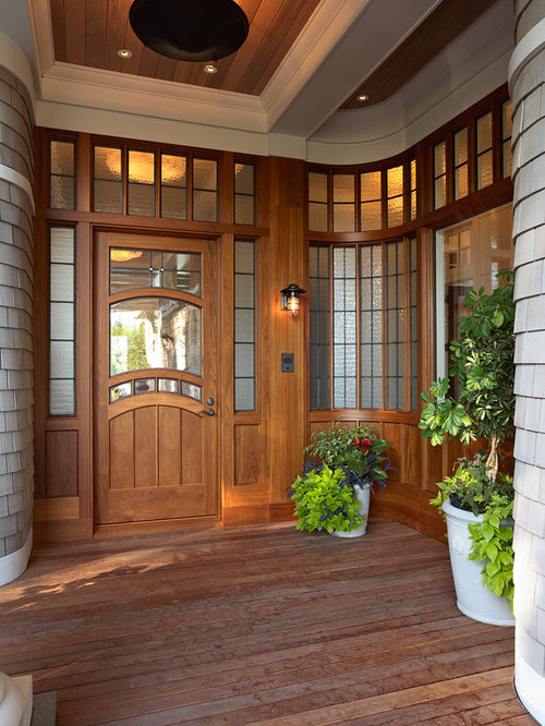 Victorian single front door idea in Minneapolis with a medium wood front door & Unique Entry Doors | Houzz pezcame.com