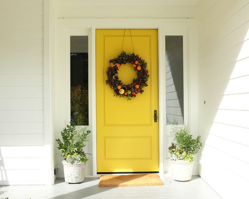 Entryway   Contemporary Entryway Idea In San Francisco With White Walls And  A Yellow Front Door