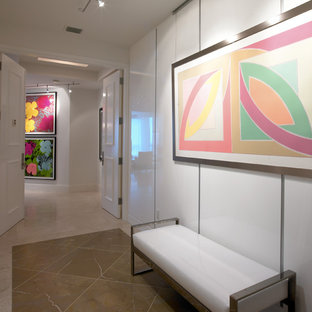 Example of a trendy entry hall design in San Diego with white walls