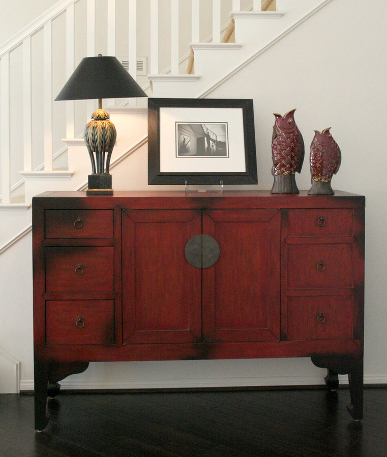 MODERN CHINESE RED CHEST IN HALL