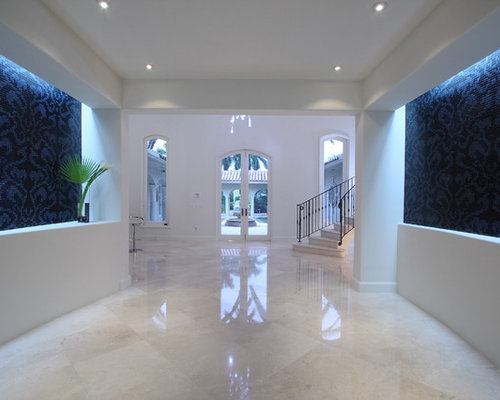cream foyer marble tile photos - Foyer Tile Design Ideas