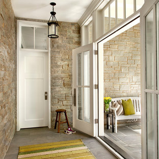 Entryway - country entryway idea in Chicago with a glass front door