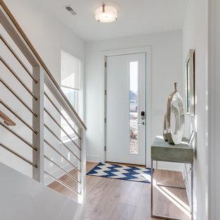 Пример оригинального дизайна интерьера: фойе среднего размера в современном стиле с белыми стенами, полом из ламината, одностворчатой входной дверью и коричневым полом