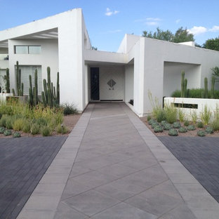 Inspiration for a contemporary concrete floor entryway remodel in Phoenix with white walls and a white front door