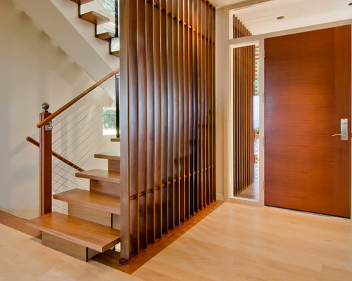 Inspiration For A Mid Sized Modern Foyer In Portland With White Walls,  Light Hardwood