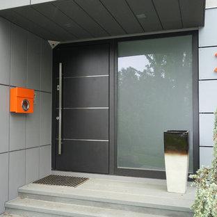 Inspiration för stora moderna ingångspartier, med grå väggar, kalkstensgolv, en enkeldörr och en grå dörr