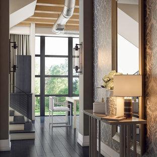 Ispirazione per un ingresso minimalista di medie dimensioni con pareti con effetto metallico e parquet scuro