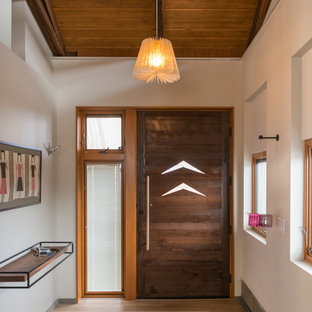 Entryway - contemporary light wood floor entryway idea in San Diego with white walls and a dark wood front door