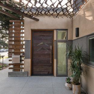 Example of a trendy entryway design in San Diego with a dark wood front door