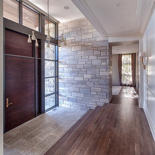 Inspiration för en stor funkis entré, med en enkeldörr, vita väggar, mörkt trägolv och mörk trädörr