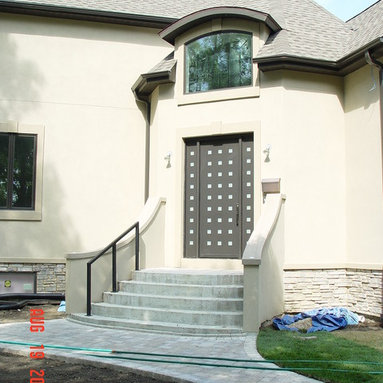 Modern Stial Entrance Doors by Arttig - 6 f. x 8 f. powder coated in antique Bronze color.