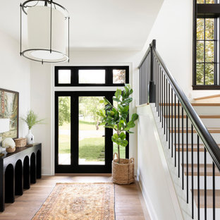 Example of a transitional medium tone wood floor and brown floor entryway design in Minneapolis with white walls and a glass front door