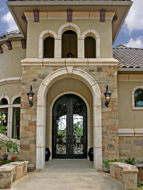 Stone and stucco facade houzz for Stucco facade