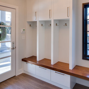 Inspiration for a mid-sized modern medium tone wood floor entryway remodel in Minneapolis with gray walls and a glass front door