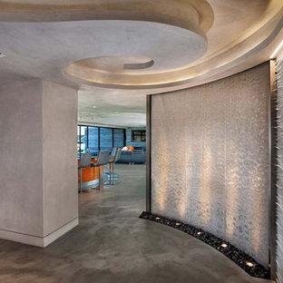 Пример оригинального дизайна: большое фойе в современном стиле с серебряными стенами и бетонным полом