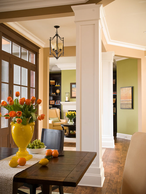 charming interior colums #10: Inspiration for a contemporary foyer remodel in Vancouver with beige walls